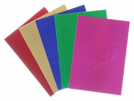 """Набор цветной гофрированной бумаги, А4, """"Металлик"""", 5 шт, 250 г/м2, 21х29,7 см  Остров сокровищ"""
