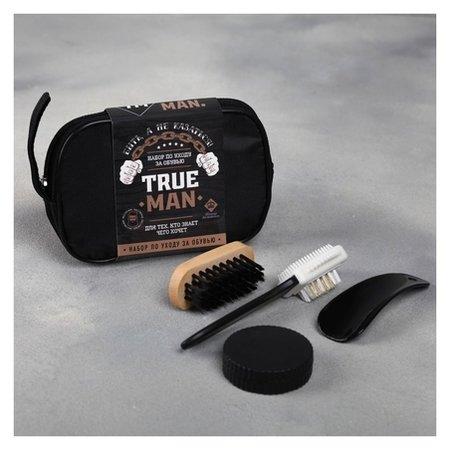 Набор дорожный для обуви «True Man»: щётка 2 шт., губка, лопатка  NNB