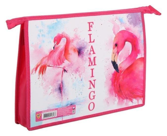 """Папка для тетрадей А4, молния сверху, пластик/ламинированный картон """"Акварельный фламинго""""  Пчелка"""
