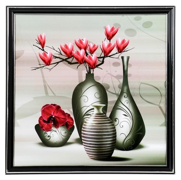Картина Вазы с розовой магнолией 36х36 см NNB