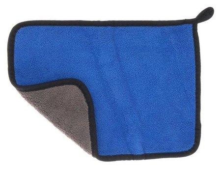 Салфетка для автомобиля Cartage, микрофибра, толстая, 20х30 Cм, сине-серая  Cartage