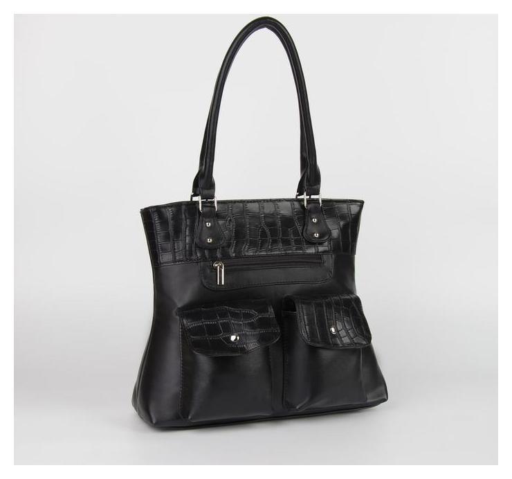 Сумка женская, отдел на молнии, 4 наружных кармана, цвет чёрный  Miss Bag