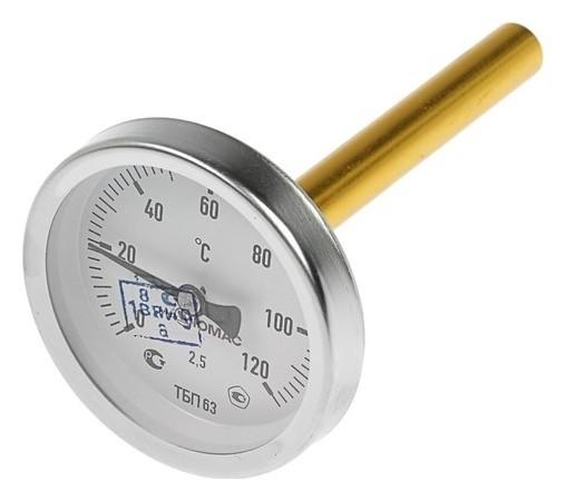 Термометр биметаллический, 120°c, с погружной гильзой 100 мм  NNB