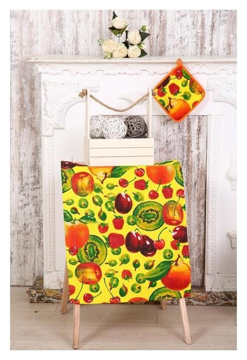 Набор кухонный «Фрукты» полотенце 45х60 + прихватка 20х20 см  DomoVita