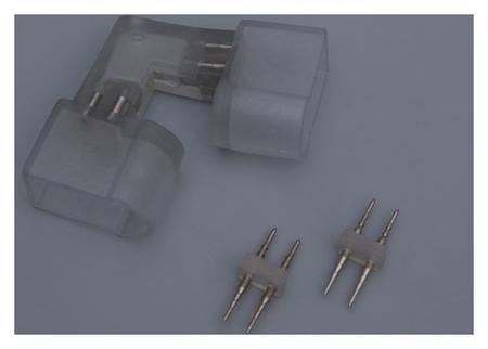 Коннектор для неона 12*24 мм, 2W, L - внутренний угол, с иглой  LuazON