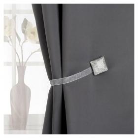 Подхват для штор «Квадрат с блёстками», 3,5 × 3,5 см, цвет серебряный  Арт узор
