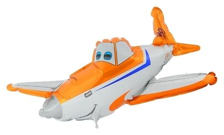 """Шар фольгированный 12"""" Самолёт для палочки, цвет оранжевый  Flexmetal"""