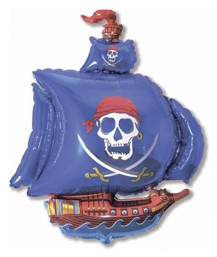 """Шар фольгированный 12"""" «Корабль пиратский» для палочки, цвет синий  Flexmetal"""