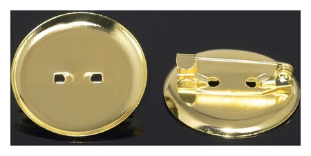 Основа для броши с круглым основанием см-367, (Набор 5шт) 25 мм, цвет золото  Queen Fair