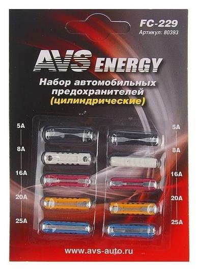 Предохранители AVS Fc-229, цилиндрические, 5-25 А, набор 10 шт.  AVS