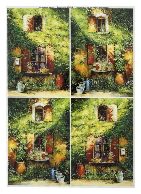 """Декупажная карта для чайного домика """"Зелёный домик"""" плотность 45 г/м2, формат А4  NNB"""