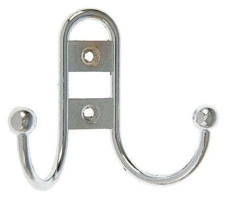 Крючок мебельный Km203cp, двухрожковый, цвет хром  NNB