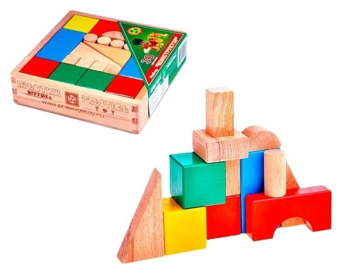 Набор «Конструктор», 30 деталей, цветной, в деревянной коробке  Престиж игрушка