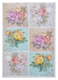 """Декупажная карта """"Розы. салфетки"""" плотность 45г/м2, формат А4  NNB"""