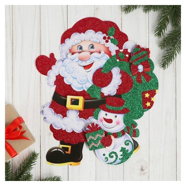 """Плакат """"Дед мороз со снеговиком"""" несут подарки, блеск 24х29 см  Зимнее волшебство"""