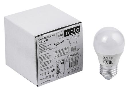 Лампа светодиодная Ecola Light, G45, 7 Вт, E27, 4000 K, 220 В, 82x45 мм, шар  Ecola