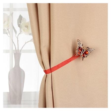 Подхват для штор «Бабочка яркая», 6 × 5 см, цвет красный  Арт узор