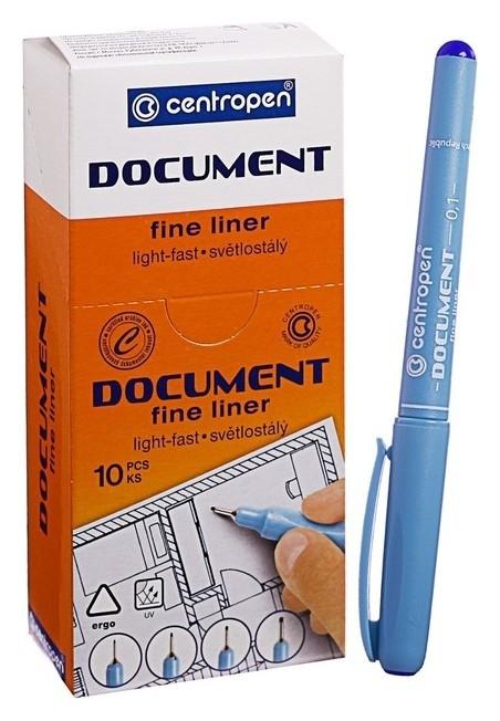 """Ручка капиллярная Centropen """"Document"""" 2631, 0,1 мм, длина письма 500 м, синяя  Centropen"""