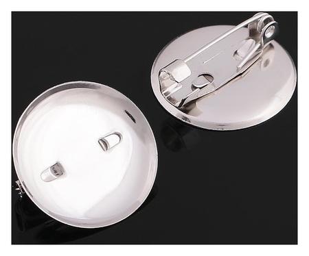 Основа для броши с круглым основанием см-367, (Набор 5шт) 20 мм, цвет серебро  Queen Fair