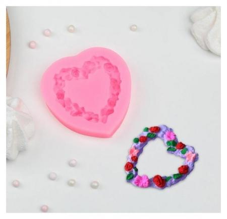 Молд силиконовый «Сердце в розочках», 7×7 см  NNB