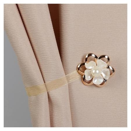 Подхват для штор «Цветок с жемчужиной», D = 6 см, цвет золотой/бежевый  Арт узор