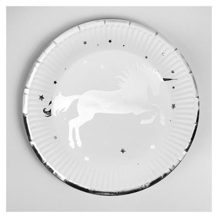 Тарелка бумажная «Единорог», набор 6 шт., серебряное тиснение NNB