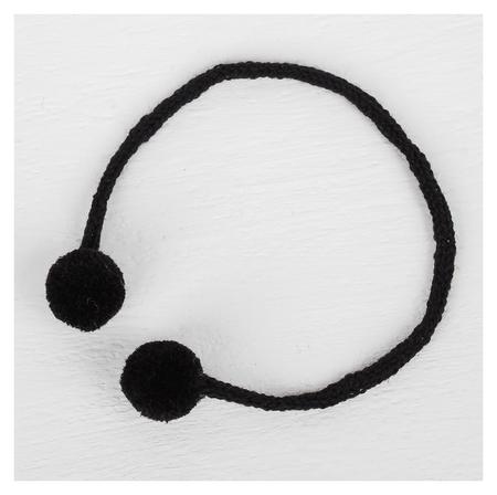 Декоративный элемент на верёвочке 2 шарика, D= 1,5 см, набор 6 шт., цвет чёрный NNB