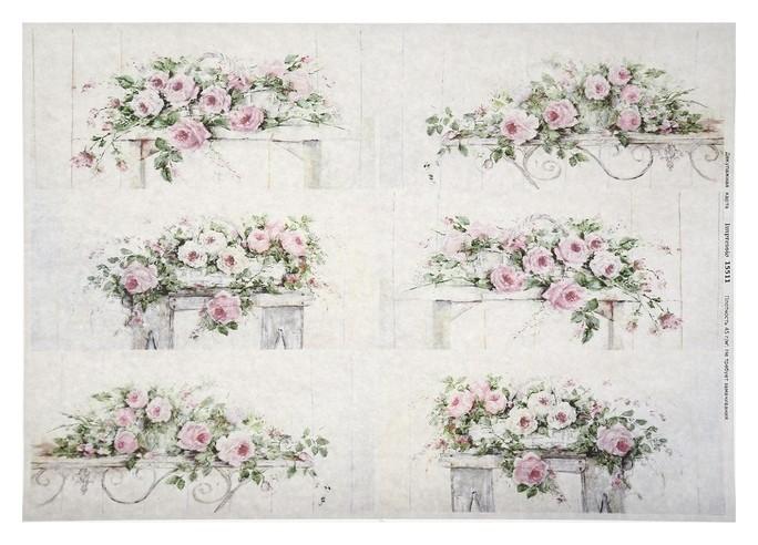 """Декупажная карта """"Розовые розы"""", плотность 45 г/м2 А4  NNB"""