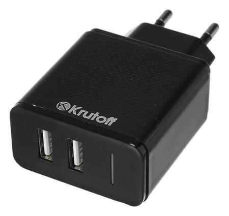 Сетевое зарядное устройство Krutoff, 2 Usb, 2.4 A, черное  Krutoff