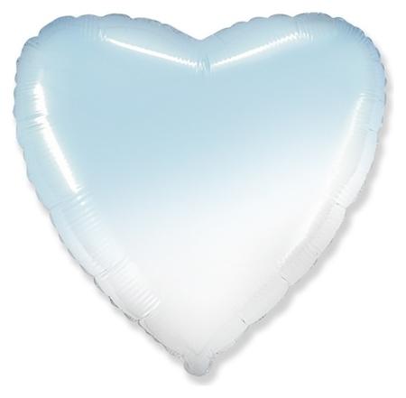 """Шар фольгированный 18"""" «Градиент», сердце, цвет голубой  Flexmetal"""
