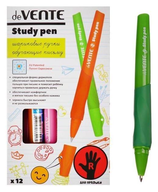 Ручка обучающая для правши Devente Study Pen, узел 0.7 мм, каучуковый держатель, чернила синие на масляной основе  deVente