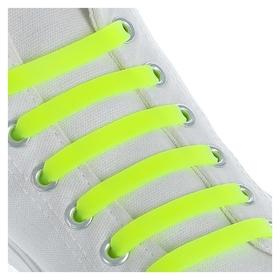 Набор шнурков для обуви, 6 шт, силиконовые, плоские, 13 мм, 9 см, цвет жёлтый неоновый  Onlitop