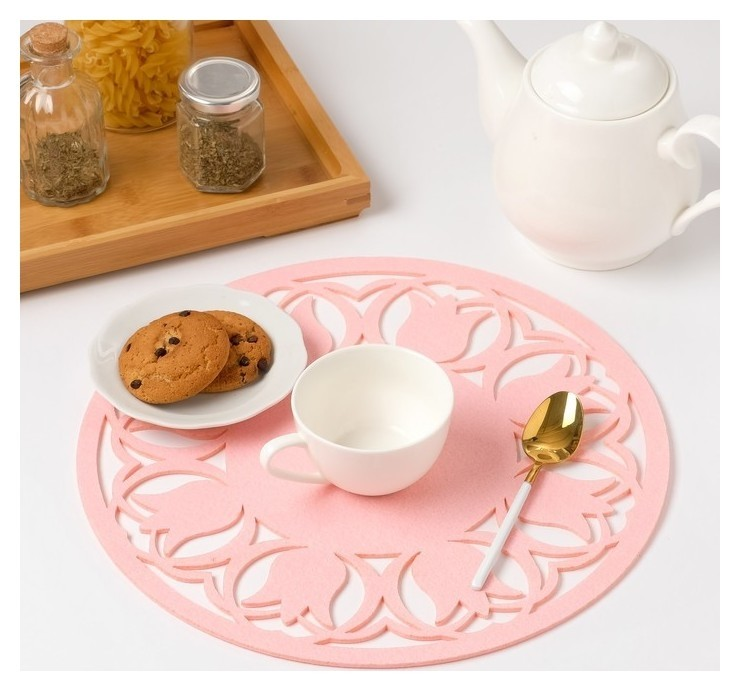 Салфетка декоративная «Тюльпаны» цвет розовый, D 30 см  Доляна