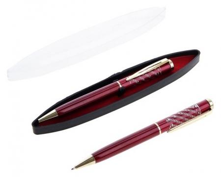 Ручка шариковая, подарочная, в пластиковом футляре, поворотная, «Фрэнсис», бордовый с золотистыми вставками  Calligrata