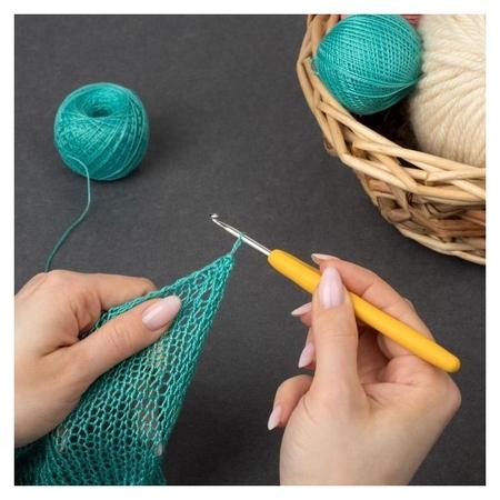 Крючок для вязания, с силиконовой ручкой, D = 3,5 мм, 14 см  Арт узор