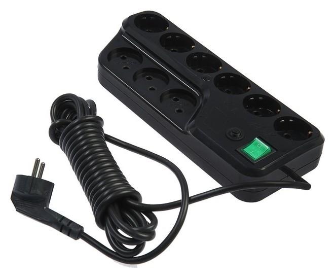Сетевой фильтр V.i.-tok у9-е, 9 розеток, 5 м, 16 А, ПВС 3х1.0 мм2, с з/к, с выкл., черный  VI-TOK