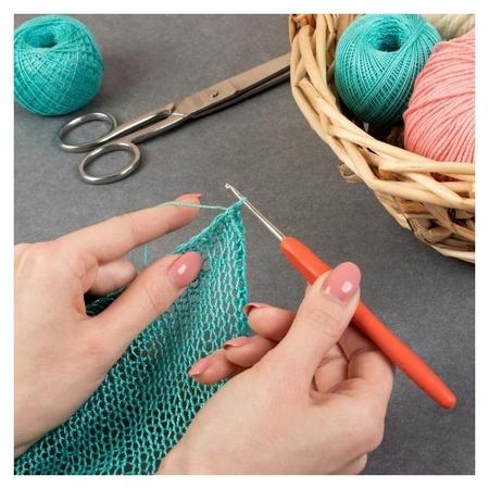Крючок для вязания, с силиконовой ручкой, D = 3 мм, 14 см  Арт узор