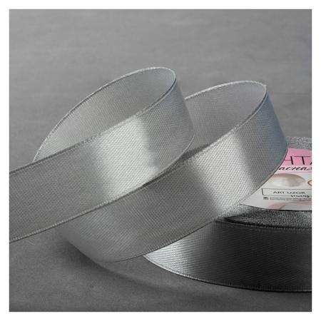 Лента атласная, 20 мм × 23 ± 1 м, цвет серебряный №176 Арт узор