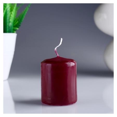 Свеча-цилиндр бордовая 4х5 см  Омский свечной завод