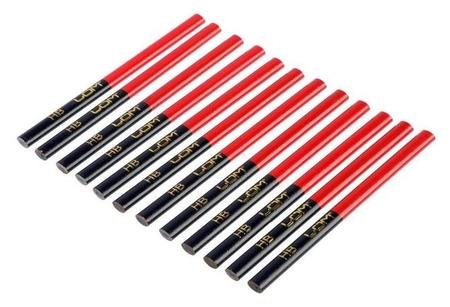 Карандаши строительные Lom, двухцветные, 180 мм, 12 шт.  LOM