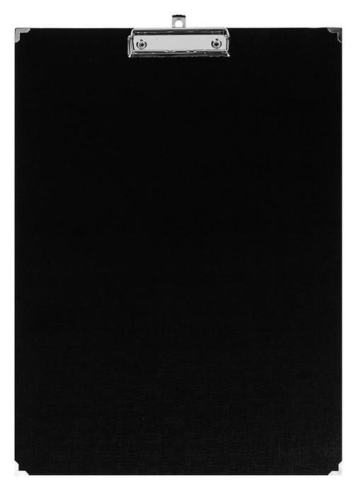 Планшет с зажимом А3, 420х300 мм, бумвинил, с металлическими уголками, чёрный (Клипборд)  Канцбург