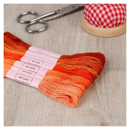 Набор ниток мулине, 8 ± 1 м, 7 шт, цвет оранжевый спектр  Арт узор