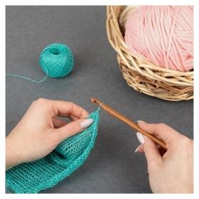 Крючок для вязания, бамбуковый, D = 7 мм, 15 см