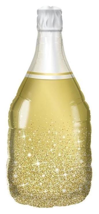 """Шар фольгированный 36"""" «Бутылка шампанского», сверкающие искры, фигура, цвет золотой  NNB"""