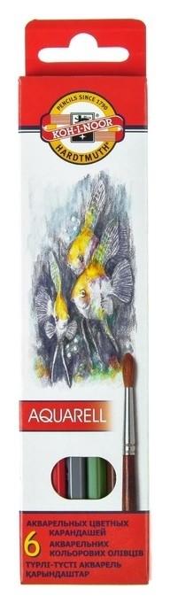 Карандаши акварельные 6 цветов 3.0 мм, Koh-i-noor рыбки 3715, картонная упаковка, L=175 мм  Koh-i-noor