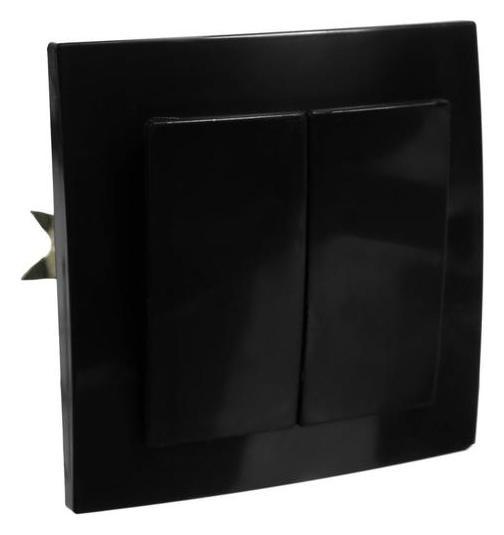 Выключатель Элект VS 56-232-б, 2 клавиши, скрытый, черный Элект