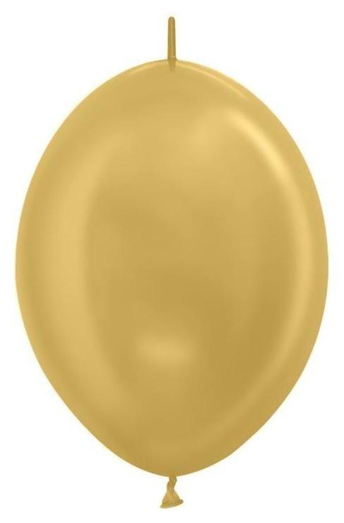 """Шар латексный 6"""", линколун, перламутр, золото яркое, набор 100 шт.  Sempertex"""