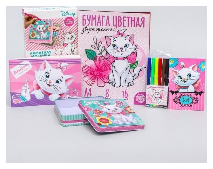 Подарочный набор: шкатулка, фломастеры, альбом для рисования, блокнот, цветная бумага, коты аристократы  Disney