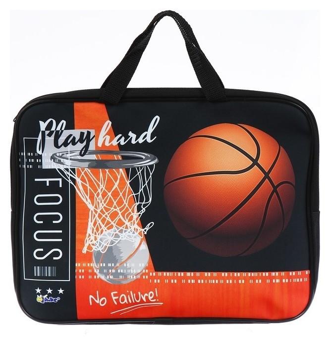 Папка с ручками текстильная А4, 350х265х45 мм, ПМД 2-20, Basket Play (Ручка-тесьма) 61910  Оникс
