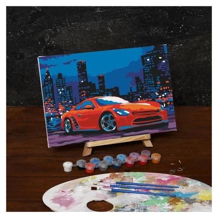 Картина по номерам на холсте с подрамником «Автомобиль в ночном городе», 30х20 см  Школа талантов